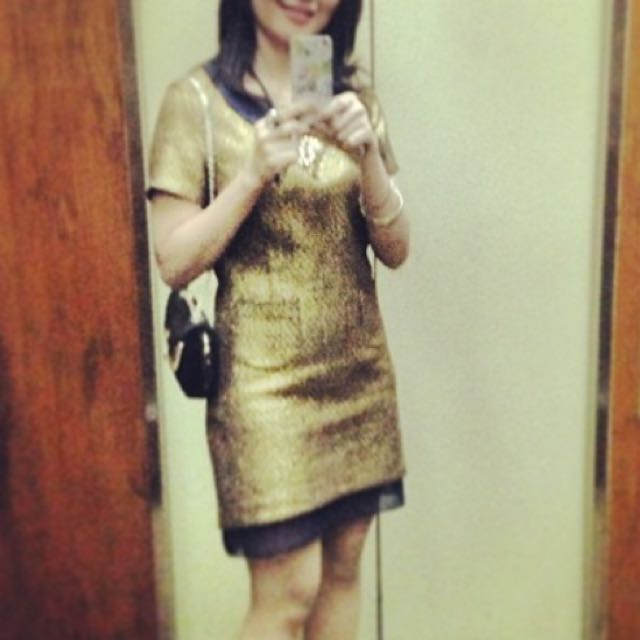 gold mini dress chanel