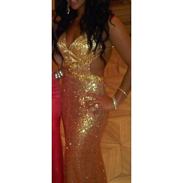 Gorgeous Beaded Gold Evening Dress