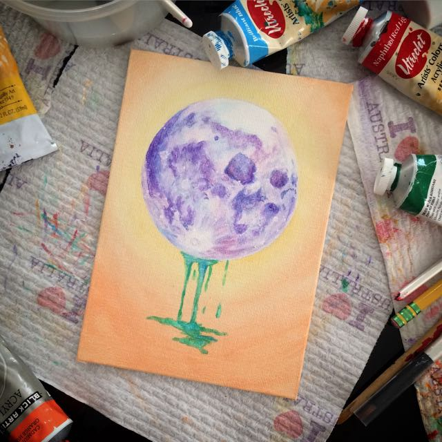 Hand Painted Acrylic Full Moon With Drips
