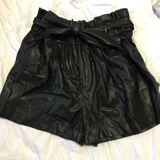 Leather Look Bardot Shorts