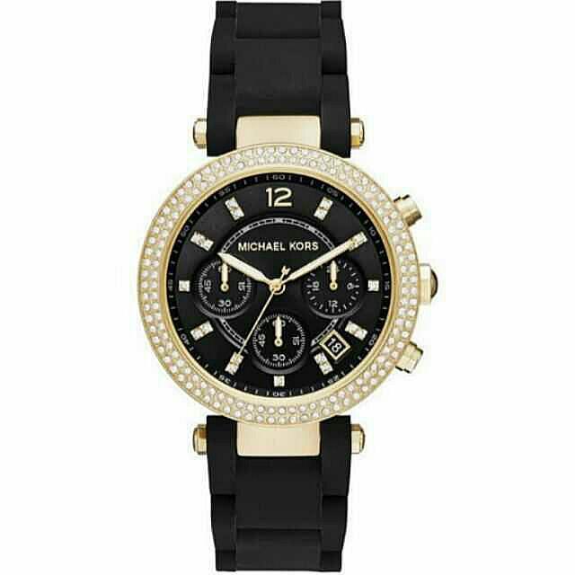 Michael Kors  晶鑽三眼計時腕錶-黑x金框 38mm  MK6404