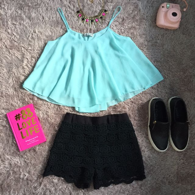 Mint Flare Top & Crochet Pants