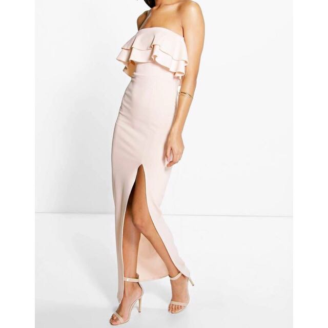 Nude Ankle-Length Dress