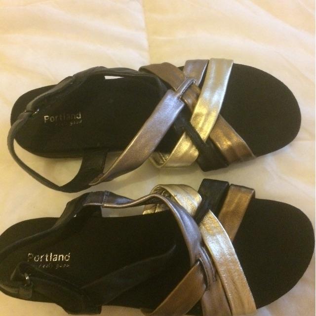 Portland Size 8, black, gold& pewter widefit comfort sandles