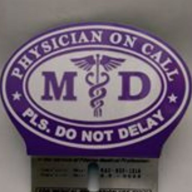 Purple MD Emblem,Plate, Doctor on Call Emblem