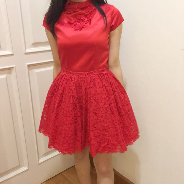 ruby red satin party dress