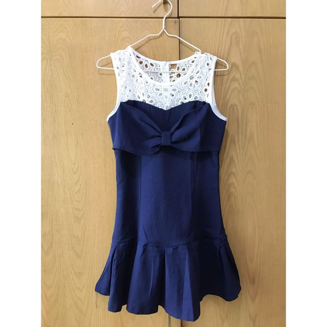 Ribbon Navy Dress