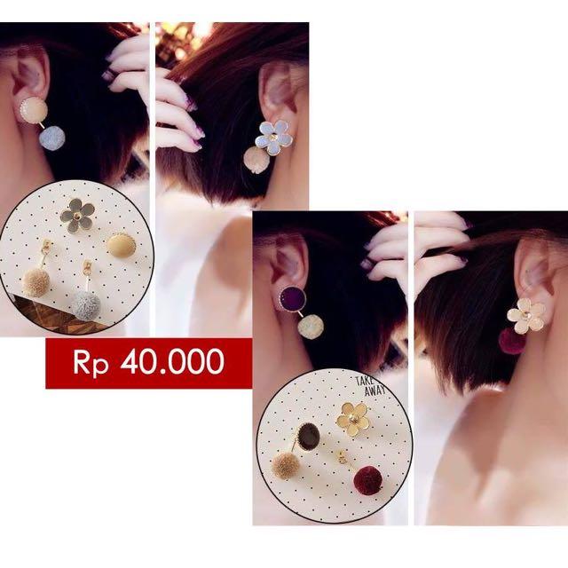 South Korean Exquisite Flower Pompom Pendant Earrings Mocca Grey