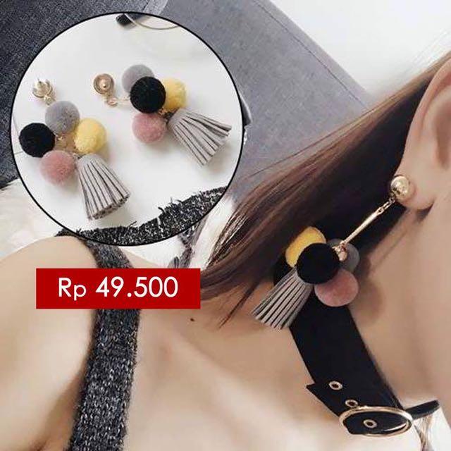 South Korean Pompom Tassel Earrings Grey Tassel