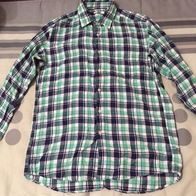 Uniqlo 亞麻襯衫 藍綠色 格子襯衫