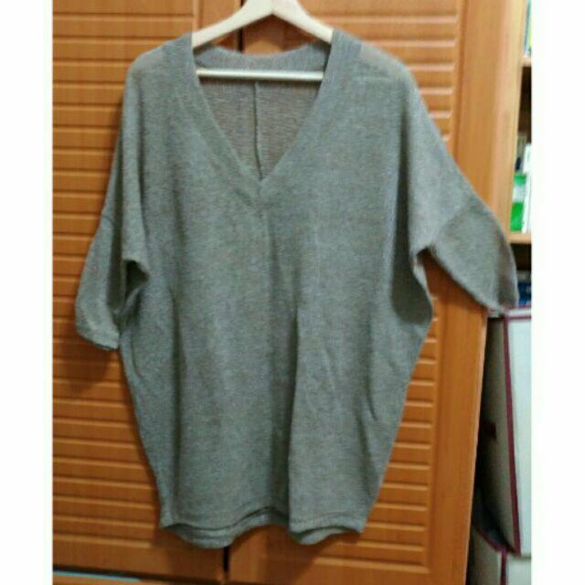 咖啡色V領長版針織罩衫