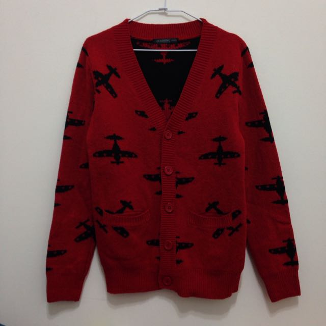 Vintage Homme 復古懷舊 飛機 紅毛衣