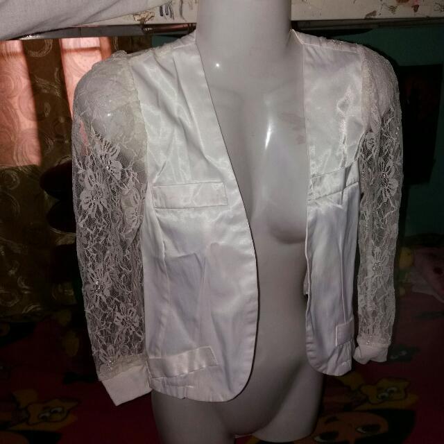 White Lace Blazer