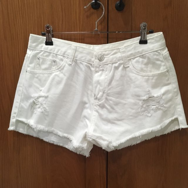 White Tattered Denim Shorts