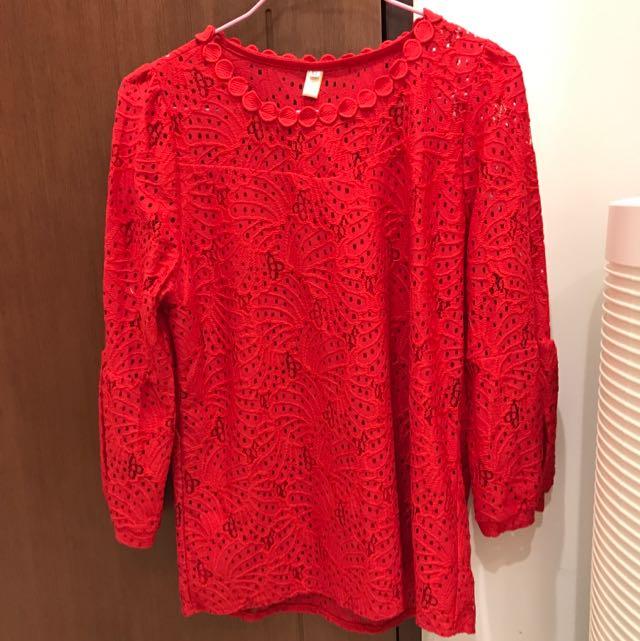 紅色圓領七分袖蕾絲上衣(XL)