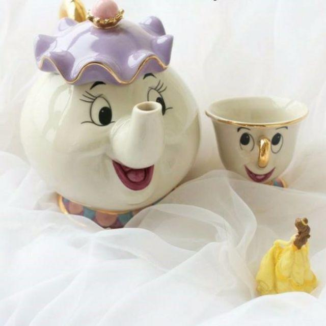 【預購】Z - 迪士尼:鑲金邊!一杯+一茶壺組(茶壺14公分/茶杯7公分)_免運。