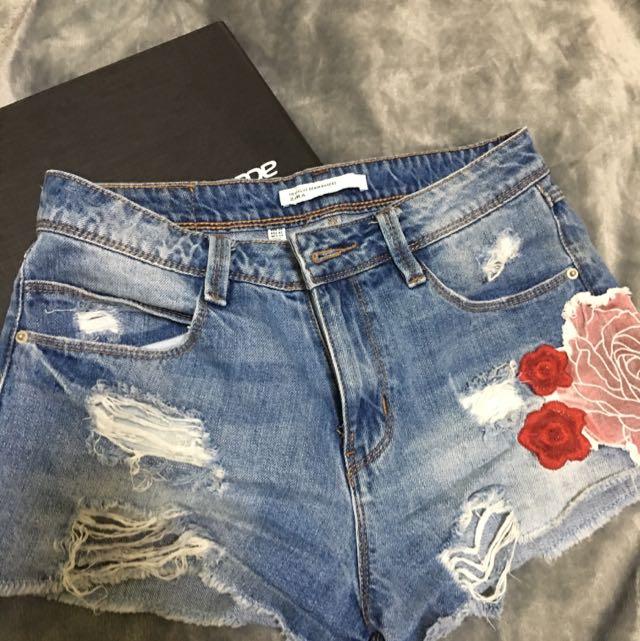 Zara設計感顯瘦刷破牛仔褲 34w M尺寸