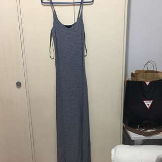 Long Dress, Stretchy Navy And White Stripes From F21