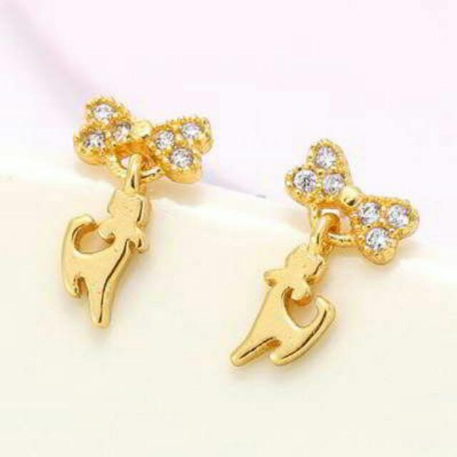 01D9F3r  Diamond Decorated Cat Shape Design Champagne Gold
