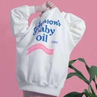 嬌生嬰兒油加絨衛衣 大學T Baby Oil