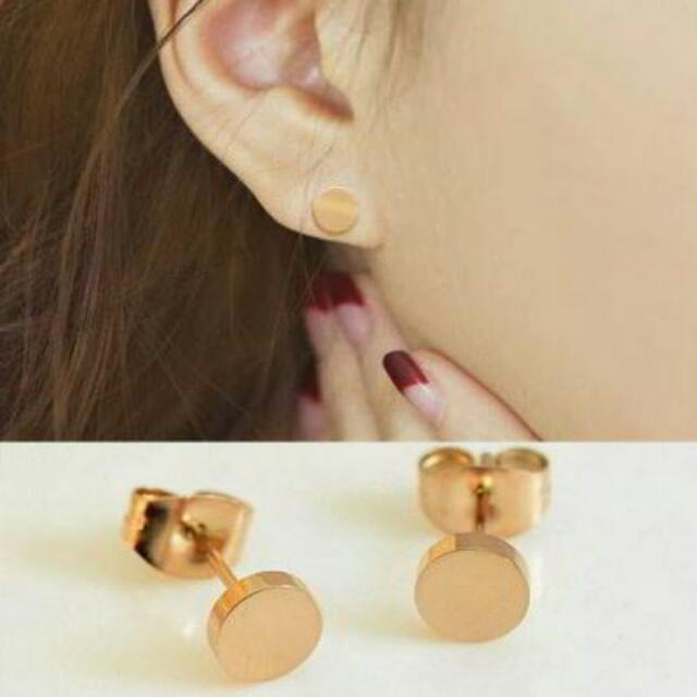 026905r  Minimalist Round Simple Earrings Titanium Steel Gold Plated 18k Gold