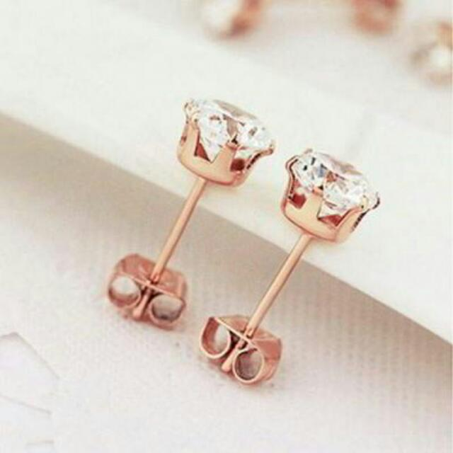 026906r  Minimalist Simple Diamond Earrings Titanium Steel Rose Gold Plated 18k Rose Gold