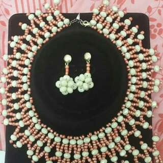 Beaded necklace with matching earrings and bracelet
