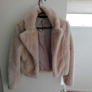 Glassons Light Pink Linned Fur Jacket