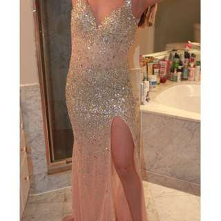 nude sequin, beaded prom dress with leg slit
