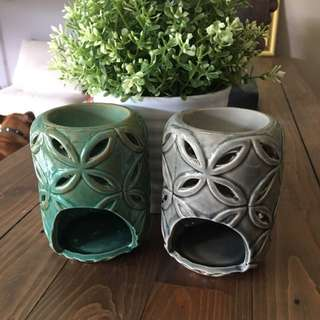 2x Candle Holder Wax Oil Melt Burner Ceramic