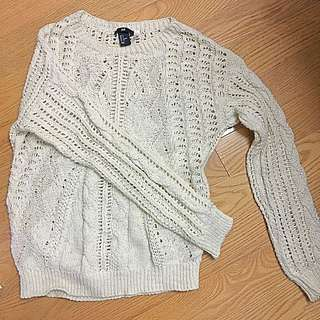 H&M White Knitted Sweater