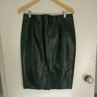 Forever New Black Leather Look Tulip Skirt Size 12
