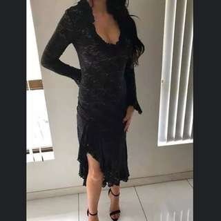 Pierucci Black Long Sleeve Lace Dress Size 10 RRP $300