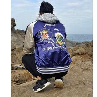 🚚 特價-日本帶回 風神 雷神 風雷神 黑銀 橫須賀 黑色 酒紅 藍紫色 刺繡 外套  橫須賀刺繡外套