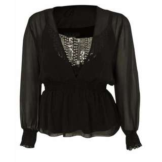 Alex Evenings Sequined Chiffon Blouse - Size XL - 54% Off!!