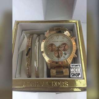 Authentic MK Watch Set With Bangles