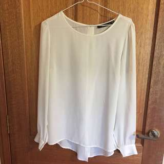 Sportsgirl Off White Sheer Long Sleeve Size 8