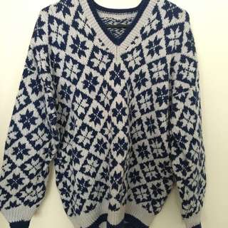 Blue/White Wooly Jumper