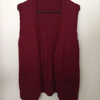 Wine Red Wooly Vest