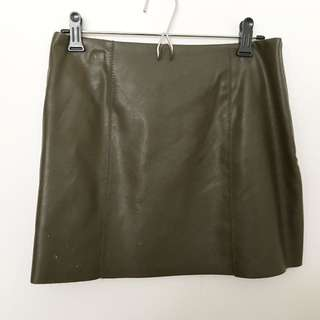 Olive Green Leather Skirt