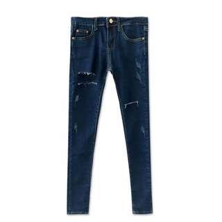 MIUSTAR 率性微抓破配色車線牛仔長褲-藍M #三百元牛仔