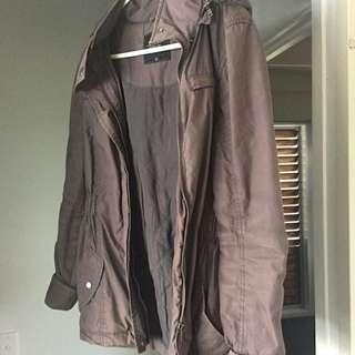 Off Grey Winter Jacket w/ Hood
