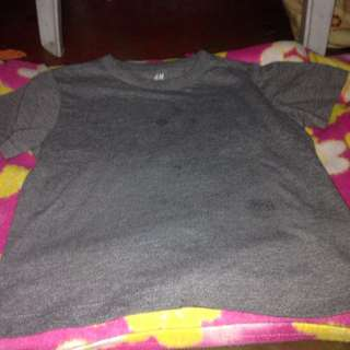 H&M  Gray Cotton T-shirt For Girls
