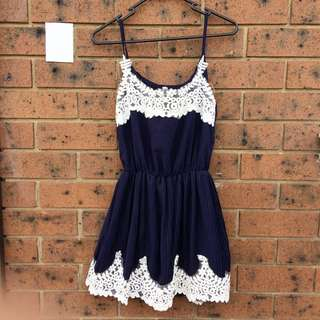 Navy Blue Pleated Summer Top With Embroidered Trim
