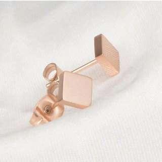 026916r  Minimalist Square Simple Earrings Titanium Steel Rose Gold Plated 18k Rose Gold