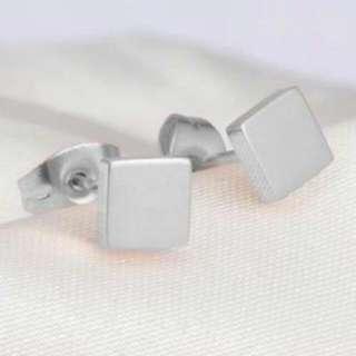 026917r  Minimalist Square Simple Earrings Titanium Steel Silver Plated 18k Silver