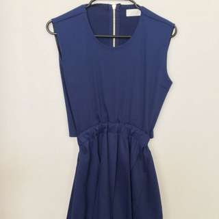 Cobalt Blue Mini Dress With Cut Out Back