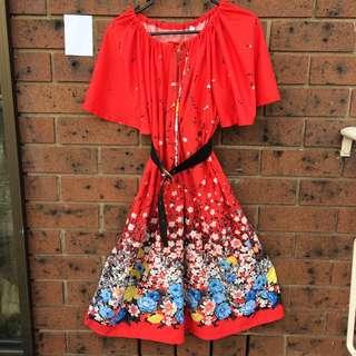 Vintage Hot Red Floral Dress