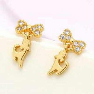 01D9F3r  Diamond Decorated Cat Shape Design Champagne Gold