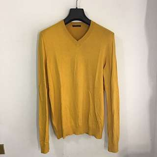 Sisley銘黃色混紡V領上衣 SizeL